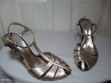 ROBERTO CAVALLI SLINGBACKS GOLD LEATHER HEELS SANDALS 39 US 8.5 MADE IN ITALY