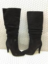 Steven by Steve Madden CARRIE Black Suede Pull On Mid Calf Boots Women's Size 10