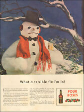 1940s vintage beverage AD Four Roses Whiskey  Frosty Type Snow Man 112317