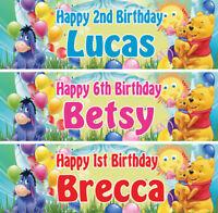 2 x Personalized Winnie the Pooh Birthday Banner Nursery Children Party supplies