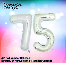 "Giant 75th Birthday Party 40"" Foil Balloon Helium Air Decoration Age 75 SILVER"