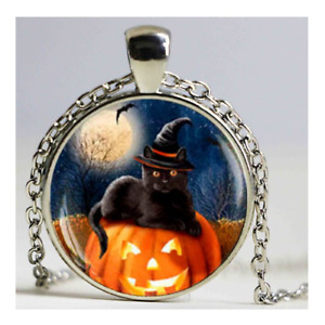 Black Cat In Witches Hat Necklace On Pumpkin Halloween Theme Bronze Costume Gift