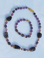 Chunky Amethyst Gemstones w/Round & Faceted Beaded Necklace w/Matching Bracelet