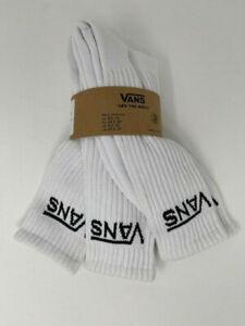 NEW Vans Men's Classic Logo Crew Socks 3 pk White 9.5-13