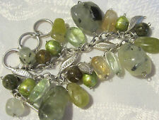 SAJEN Adjustable Green Gemstone, Pearl & Sterling Silver Leaf Toggle Bracelet