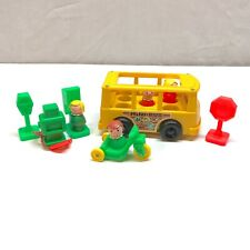 Vintage Fisher Price Little People Mini Bus, Figure & Accessories Lot 1969