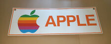"Very old APPLE COMPUTER display sign - vintage rainbow logo 36"" x 12"" banner"