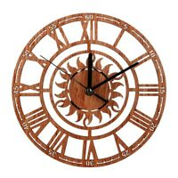 Vintage Wooden Wall Clock Shabby Chic Rustic Kitchen Home Antique Watches Dec TP