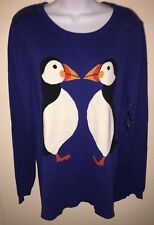 Le Tigre Sweater NWT Size L Blue With Penguins