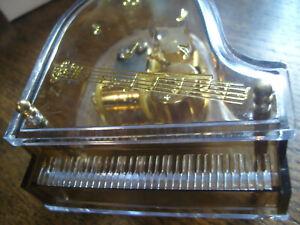 Modell Miniatur Flügel mit Spieluhr Piano Klavier Spieldose Pianist Plexiglas
