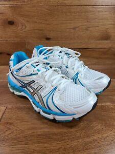 ASICS Gel-Kayano 18 Women's White Blue Running Sneakers Shoes T250N Sz 8.5 *MINT