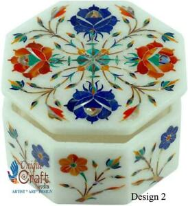 Marble Jewelry box,Trinket Box,Floral Pattern,Inlaid Precious Stones ,Gift
