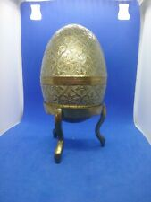 Vintage Cloissonne Brass Easter Egg trinket box And Stand Made In India