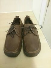 Mens Hush Puppies Taupe Brown Leather Lace Up Moccasin Shoes Casual size 7