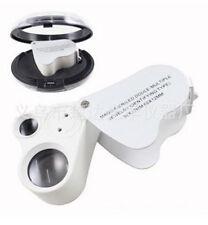 60 Fach Lupe Mikroskop Vergrösserung Juwelier Uhrmacher Glas mit LED Licht Lampe