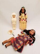 Lot of 3 Vintage Native American Indian Dolls Celluloid Sleepy Eye Leather Bead