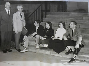 Vintage B&W Photograph College Kids On Steps Flat Tops Argyle Socks 1950's