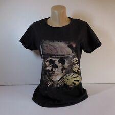 T-shirt noir taille M coton horloge tête mort PARAGOOSE BRAND NEW YORK USA N7094