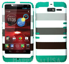 KoolKase Hybrid Cover Case for Motorola Droid Razr M XT907 - Stripe Gray