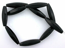 "41.5 x 10.5mm Tapered Faceted Tube Natural Black Line Onyx Gem Bead 15"" Strand"