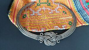 Old Afghanistan Tribal Silver Choker Style Solid Wire Necklace …beautiful accent