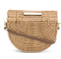 C&C California Half Moon Wicker Basket Bag Rattan Crossbody Clutch Beach NWT