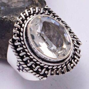 White Topaz Ethnic Handmade Ring Jewelry US Size-7.75 AR 40014