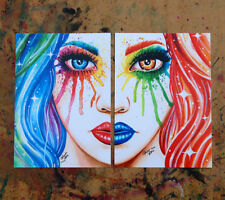 Set of TWO 8x10 inch Signed Art Prints Split Personality Set by Carissa Rose