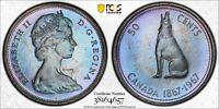 1967 CANADA 50 CENTS SILVER PCGS PL65 UNC TONED MONSTER BLUE COLOR GEM (DR)