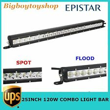 25inch 120W LED Single Row Light Bar Offroad Outdoor Spot Flood 4WD Jeep 12V 24V