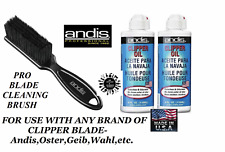 ANDIS CLIPPER&TRIMMER BLADE OIL(2) LUBE & Cleaning BRUSH SET*Also For Oster,Wahl