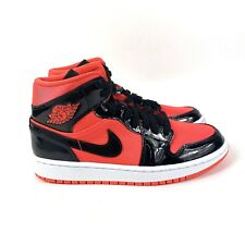 Nike Air Jordan 1 Mid Hot Punch Women's Sneakers Black Patent Leather Size 9