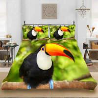 Funny Billed Bird 3D Quilt Duvet Doona Cover Set Single Double Queen King Print