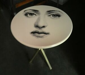 PIERO FORNASETTI ICONIC FACE OCCASIONAL WOOD AND BRASS TABLE