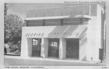 REDDING FIRE HOUSE California Fire Department ca 1940s Vintage Postcard