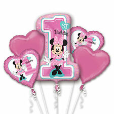 1st Year Old Minnie Mouse Balloon Bouquet First Birthday Party Supplies - 5pc