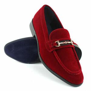 Suede Buckle Slip On Moccasins Men's Dress Fashion Shoes PUC01 Size : 6.5--13