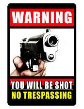 NO TRESPASSING Custom Sign..Keep Criminals Away...Hi Gloss..NO RUST Aluminum.gun