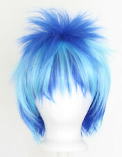 13'' Spiky Short Royal and Sky Blue Striped Synthetic Cosplay DJ Pony Wig NEW
