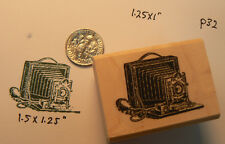 "P32 Vintage Photo Camera-WM rubber stamp 1x1"" miniature"