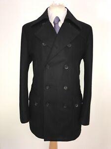HUGO BOSS - Mens BLACK WOOL PEA COAT - Medium - UK 40-42 Reg -LOVELY WARM JACKET