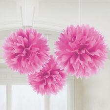 3x Grande Bastante Rosa Papel Mullido Colgante Decoración Fiesta Boda Bautizo
