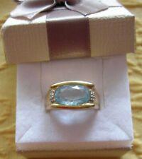 Damen Ring mit Blautopas und Citrin aus echt, massiv gelb Gold 585. Gebraucht.