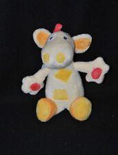 Peluche doudou vache girafe BABYSUN beige jaune rouge orange 17 cm cocard NEUF