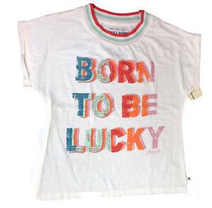 Lucky Brand Girls Short Sleeve T-Shirt Born to be Lucky Size S