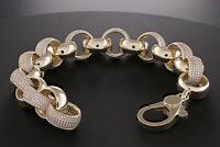 """Hallmarked 9ct Gold Gem-Set Belcher Bracelet 16mm - 9.5"""" {T4_A} RRP £2940"""