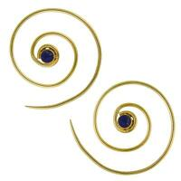 Spiralen Ohrringe dünn Lapis rund Messing Brass antik golden nickelfrei Piercing