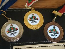 3 x GO-KART RACING MEDALS (40mm) GOLD,S & B - FREE ENGRAVING,CENTRES & RIBBONS