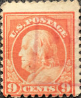 Scott #509 US 1917 9 Cents Franklin Postage Stamp Perf 11
