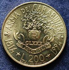 """1994 Repubblica Italiana 200 Lire """"CARABINIERI"""" UNC"""